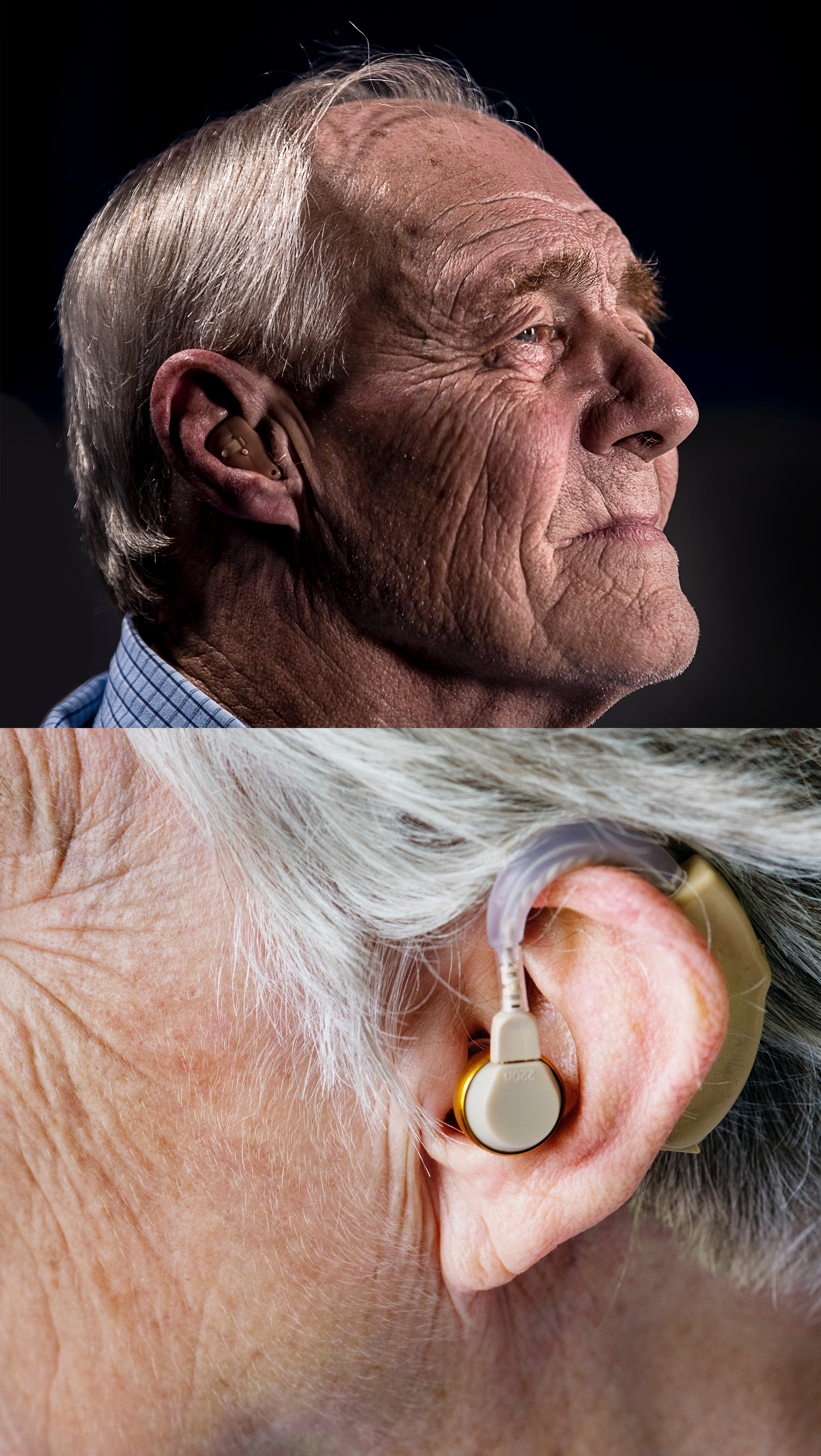 senior wearing hearing aid