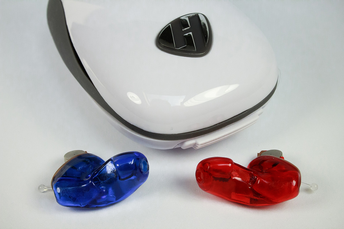 blue and red hearing aids